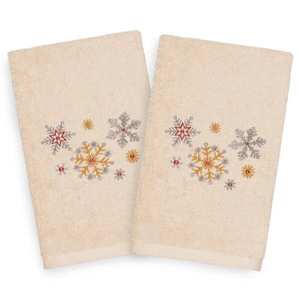 Beam Snowfall Embroidered Luxury 100% Turkish Cotton Hand Towel (Set of 2) by The Holiday Aisle